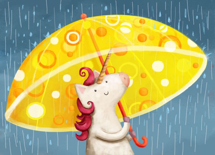 unicorn with mod umbrella