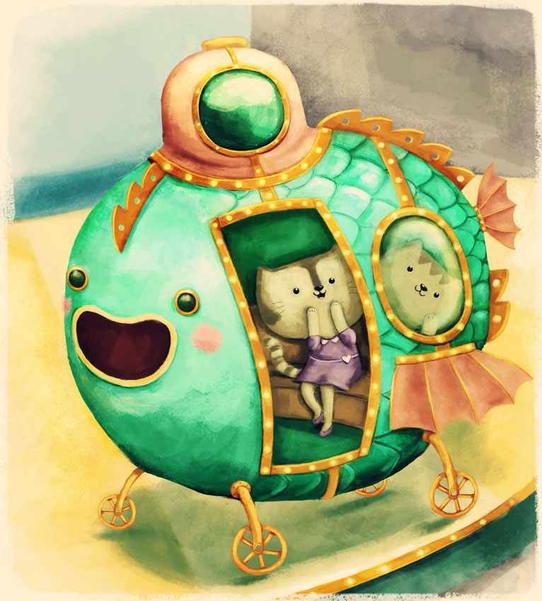carousel cats illustration for kids