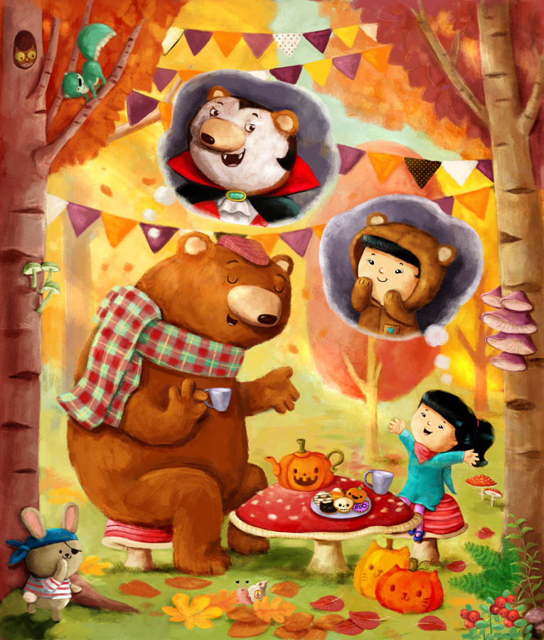 halloweentea-party with bear  childrens illustration