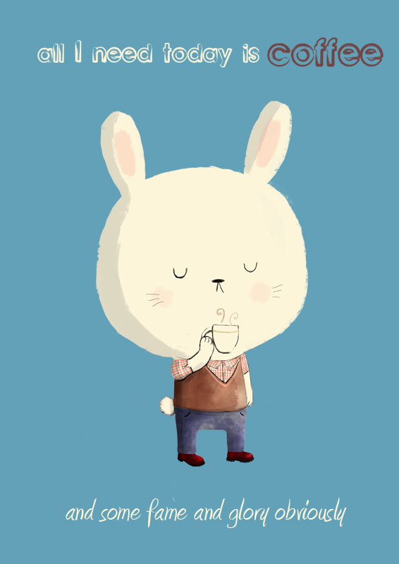 cute bunny with coffee monday illustration