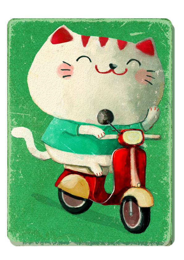 Cat on Scooter Illustration
