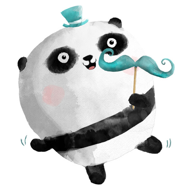 Panda with mustaches illustration