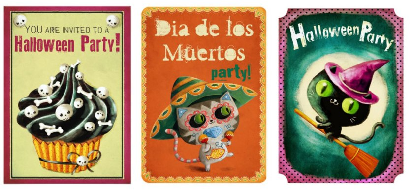 haloween day of the dead invitations with cats